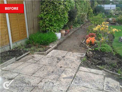 Garden and patio before