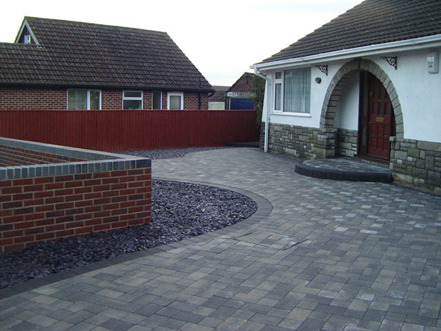 Front garden driveway and hard landscaping after