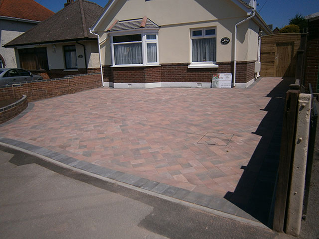 Block paving driveway after