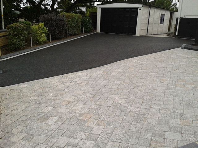 Tarmac and block paving driveway after