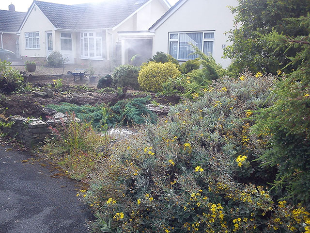 Front garden landscaping before