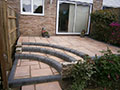 Block patio with paving steps